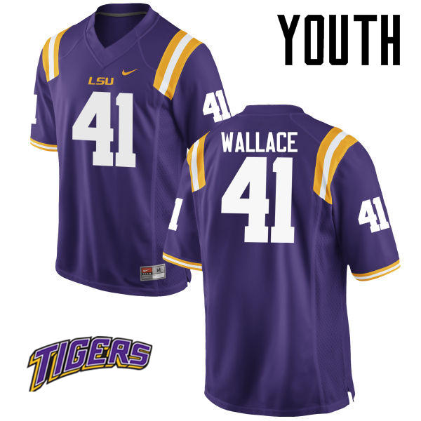 Youth #41 Abraham Wallace LSU Tigers College Football Jerseys-Purple