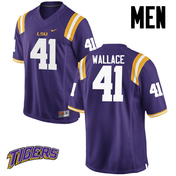 Men's #41 Abraham Wallace LSU Tigers College Football Jerseys-Purple