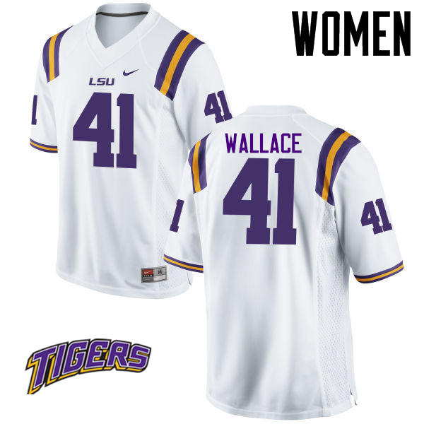 Women's #41 Abraham Wallace LSU Tigers College Football Jerseys-White