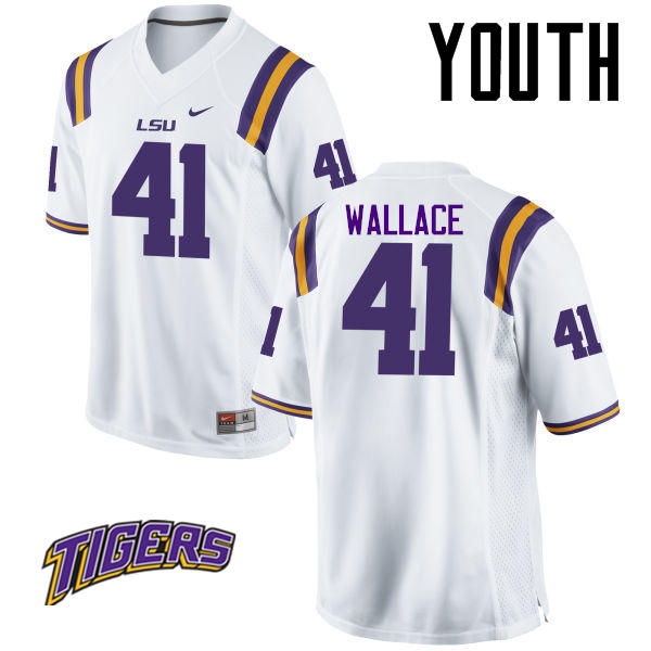 Youth #41 Abraham Wallace LSU Tigers College Football Jerseys-White