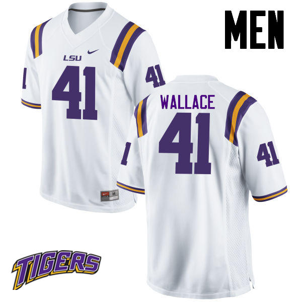 Men's #41 Abraham Wallace LSU Tigers College Football Jerseys-White