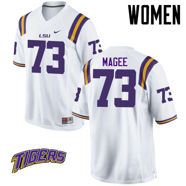Women's #73 Adrian Magee LSU Tigers College Football Jerseys-White