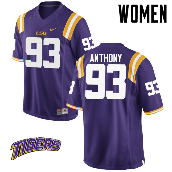 Women's #93 Andre Anthony LSU Tigers College Football Jerseys-Purple