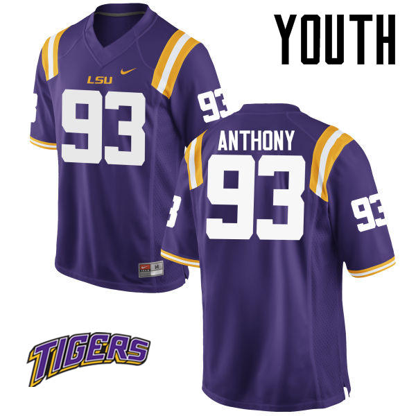 Youth #93 Andre Anthony LSU Tigers College Football Jerseys-Purple
