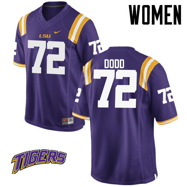 Women's #72 Andy Dodd LSU Tigers College Football Jerseys-Purple