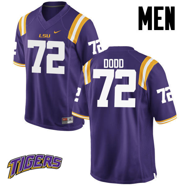 Men's #72 Andy Dodd LSU Tigers College Football Jerseys-Purple