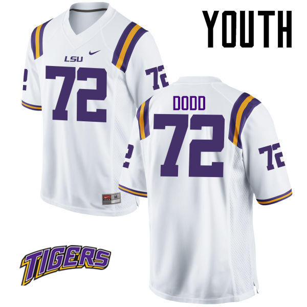 Youth #72 Andy Dodd LSU Tigers College Football Jerseys-White