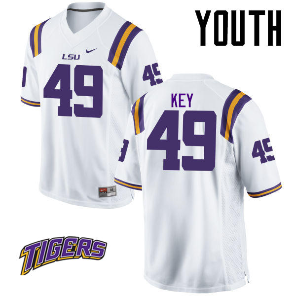 Youth #49 Arden Key LSU Tigers College Football Jerseys-White