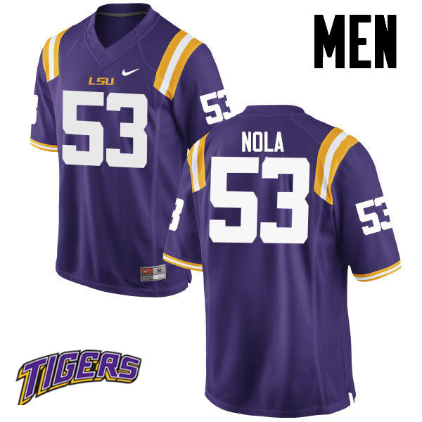 Men's #53 Ben Nola LSU Tigers College Football Jerseys-Purple