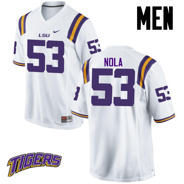 Men's #53 Ben Nola LSU Tigers College Football Jerseys-White
