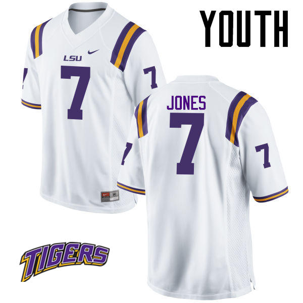 Youth #7 Bert Jones LSU Tigers College Football Jerseys-White