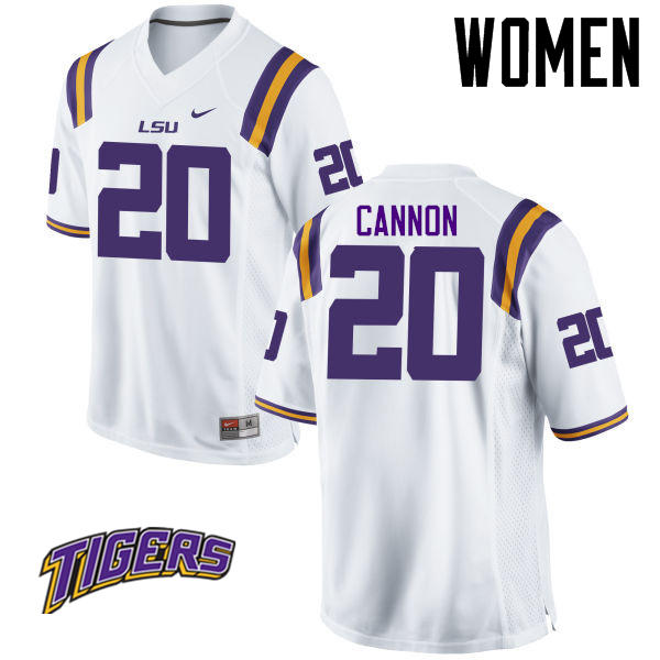 Women's #20 Billy Cannon LSU Tigers College Football Jerseys-White