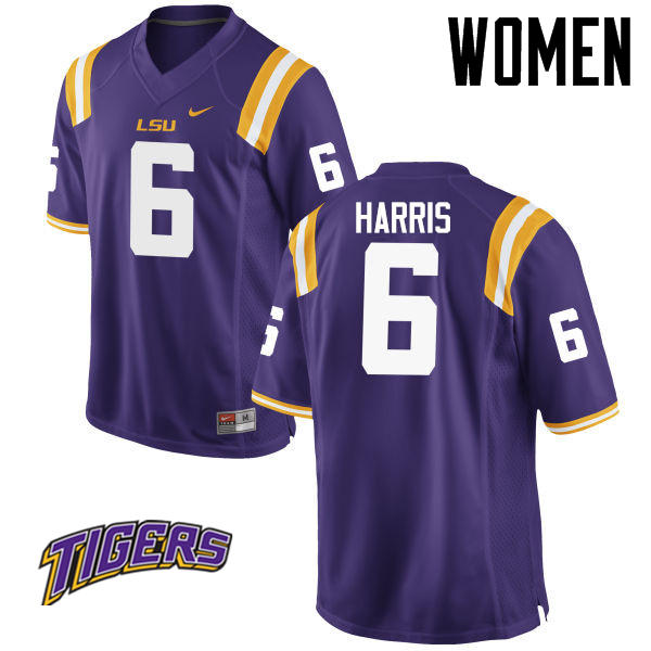 Women's #6 Brandon Harris LSU Tigers College Football Jerseys-Purple