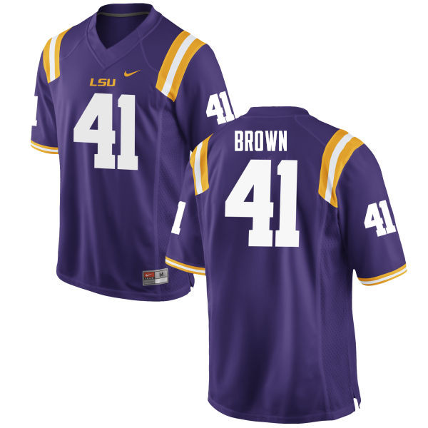 Men #41 Caleb Brown LSU Tigers College Football Jerseys Sale-Purple