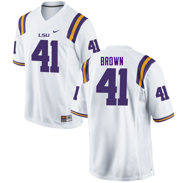 Men #41 Caleb Brown LSU Tigers College Football Jerseys Sale-White