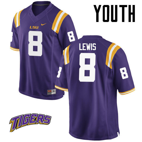 Youth #8 Caleb Lewis LSU Tigers College Football Jerseys-Purple