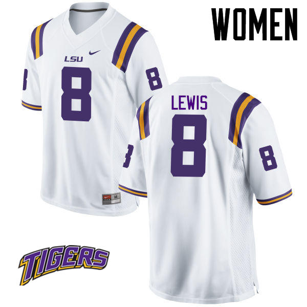 Women's #8 Caleb Lewis LSU Tigers College Football Jerseys-White