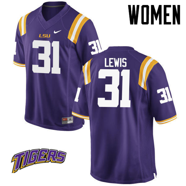 Women's #31 Cameron Lewis LSU Tigers College Football Jerseys-Purple