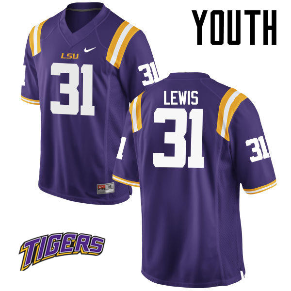 Youth #31 Cameron Lewis LSU Tigers College Football Jerseys-Purple