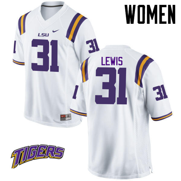 Women's #31 Cameron Lewis LSU Tigers College Football Jerseys-White