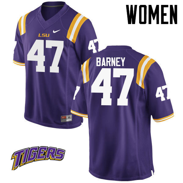 Women's #47 Chance Barney LSU Tigers College Football Jerseys-Purple