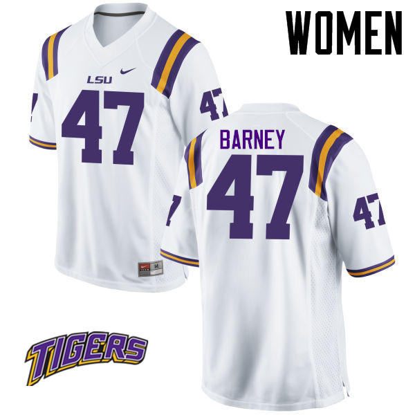 Women's #47 Chance Barney LSU Tigers College Football Jerseys-White