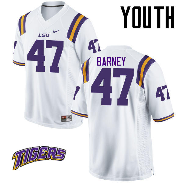 Youth #47 Chance Barney LSU Tigers College Football Jerseys-White