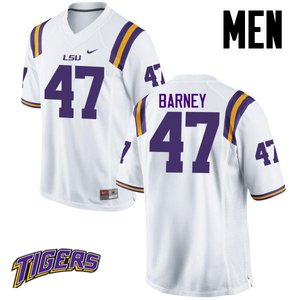 Men's #47 Chance Barney LSU Tigers College Football Jerseys-White