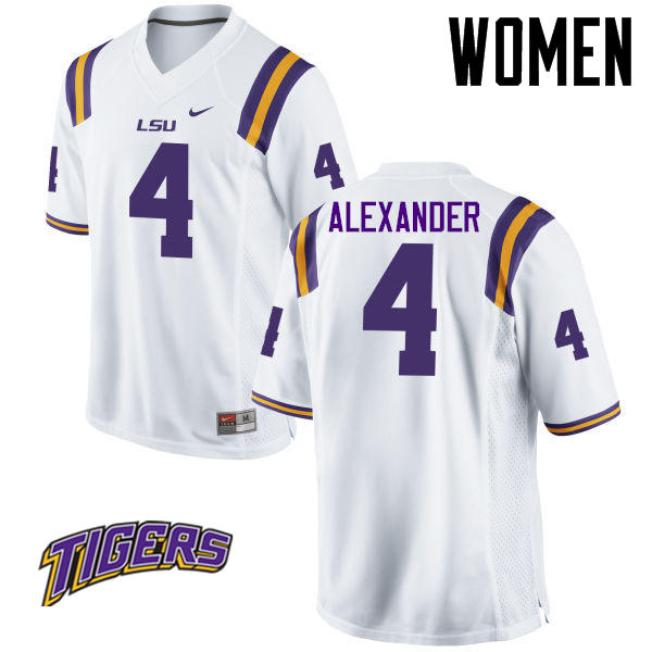 Women's #4 Charles Alexander LSU Tigers College Football Jerseys-White
