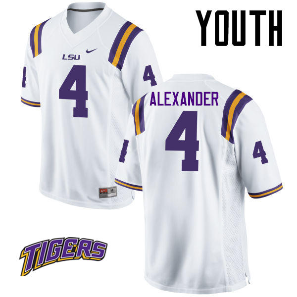 Youth #4 Charles Alexander LSU Tigers College Football Jerseys-White