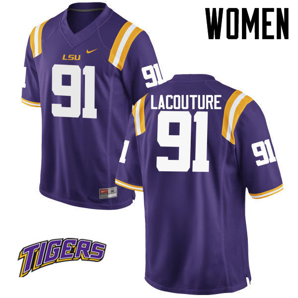 Women's #91 Christian LaCouture LSU Tigers College Football Jerseys-Purple