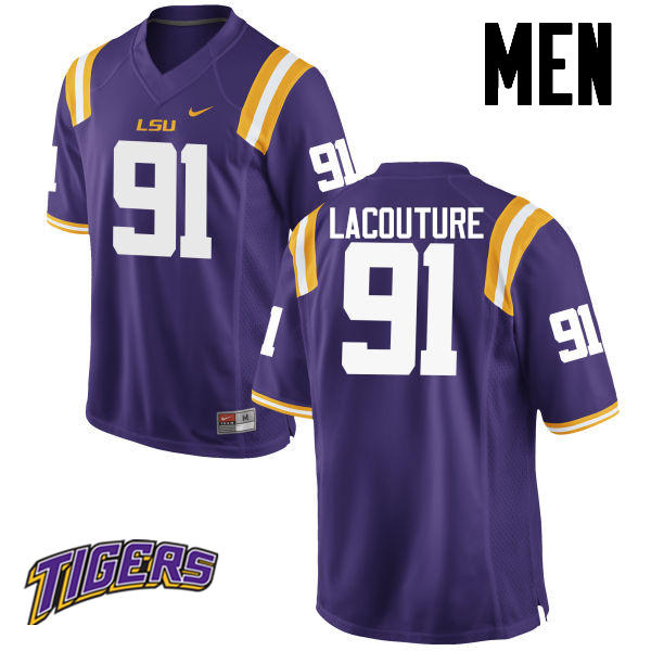 Men's #91 Christian LaCouture LSU Tigers College Football Jerseys-Purple