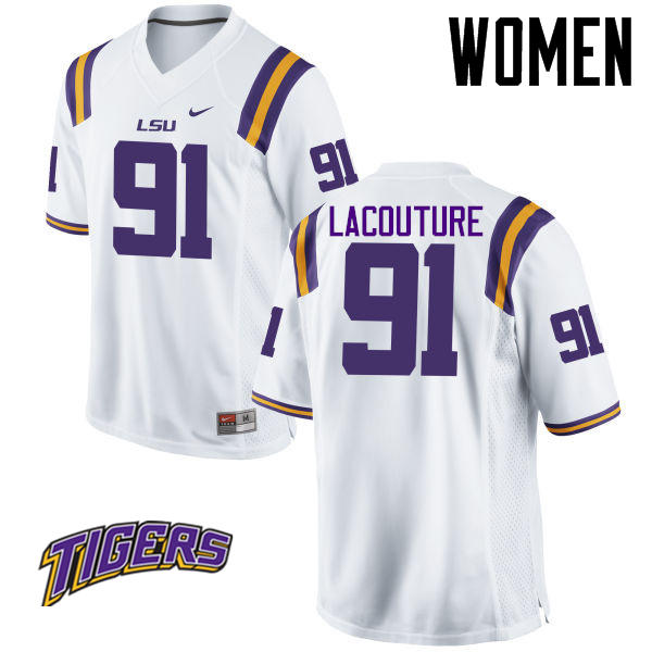 Women's #91 Christian LaCouture LSU Tigers College Football Jerseys-White