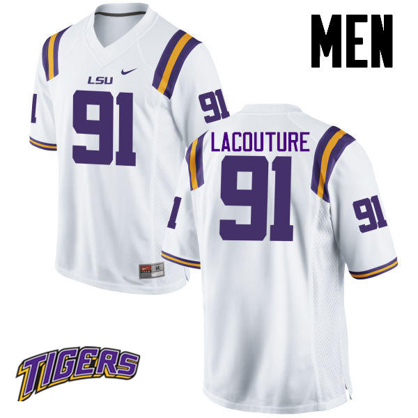 Men's #91 Christian LaCouture LSU Tigers College Football Jerseys-White