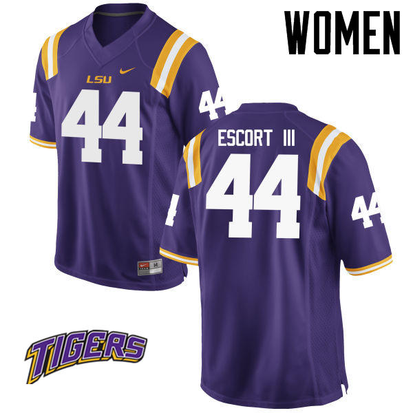 Women's #44 Clifton Escort III LSU Tigers College Football Jerseys-Purple