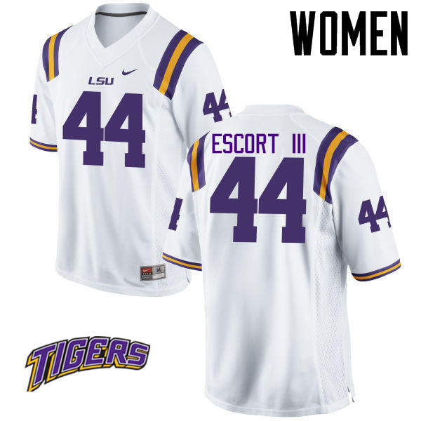 Women's #44 Clifton Escort III LSU Tigers College Football Jerseys-White