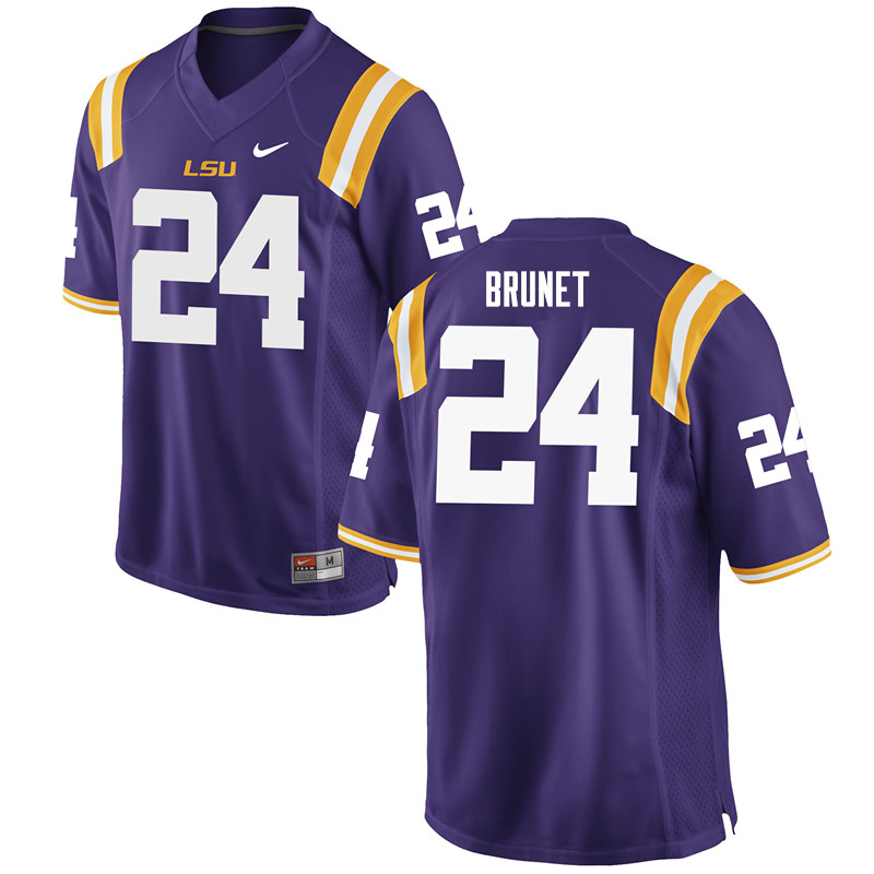 Men #24 Colby Brunet LSU Tigers College Football Jerseys Sale-Purple