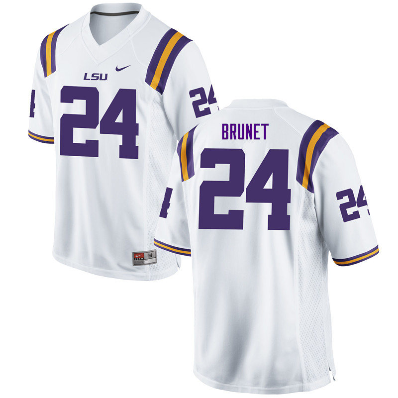 Men #24 Colby Brunet LSU Tigers College Football Jerseys Sale-White