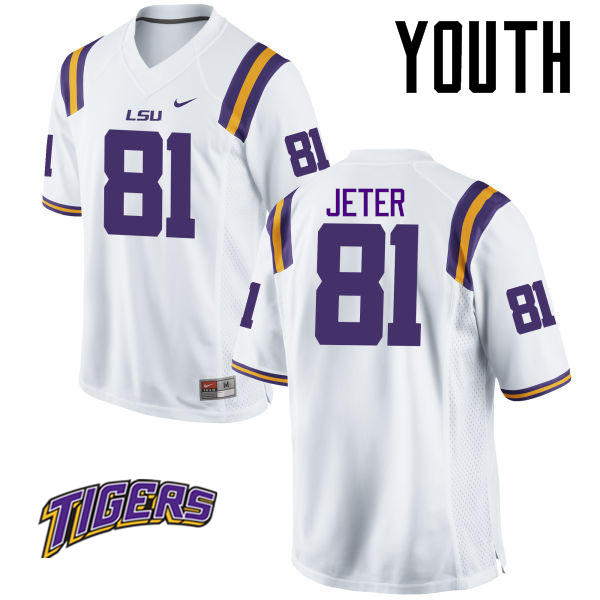 Youth #81 Colin Jeter LSU Tigers College Football Jerseys-White