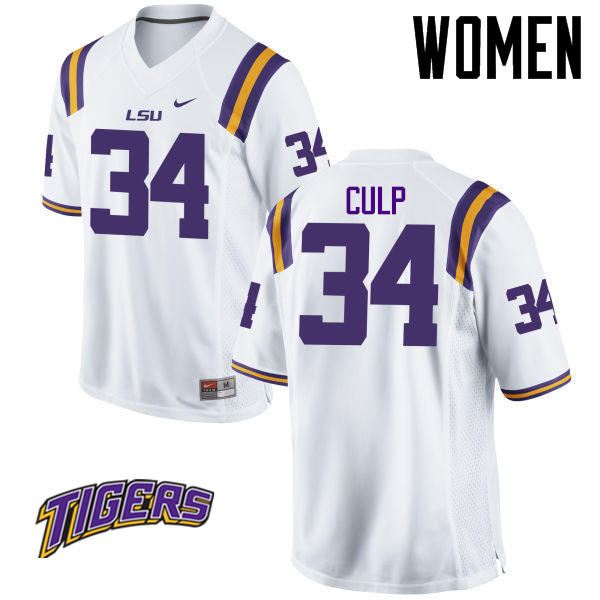 Women's #34 Connor Culp LSU Tigers College Football Jerseys-White