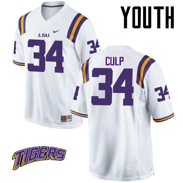 Youth #34 Connor Culp LSU Tigers College Football Jerseys-White