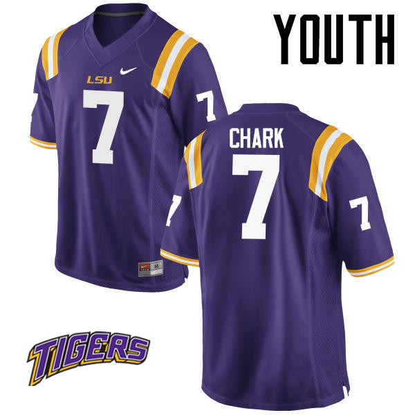 Youth #7 D.J. Chark LSU Tigers College Football Jerseys-Purple