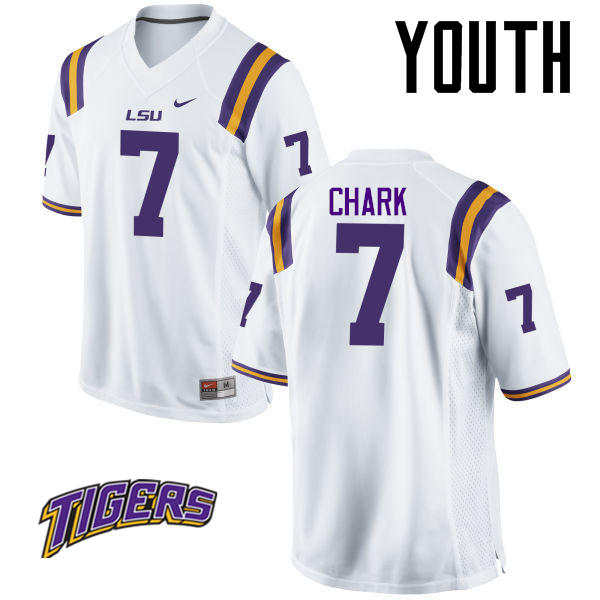 Youth #7 D.J. Chark LSU Tigers College Football Jerseys-White