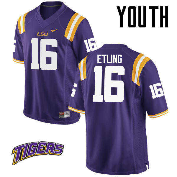 Youth #16 Danny Etling LSU Tigers College Football Jerseys-Purple