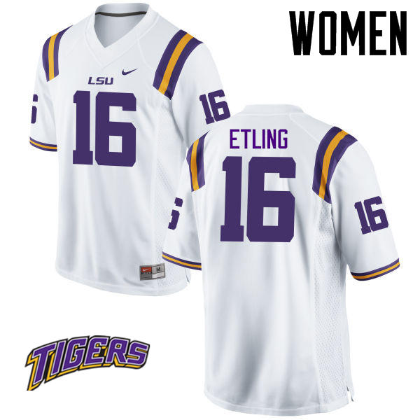 Women's #16 Danny Etling LSU Tigers College Football Jerseys-White