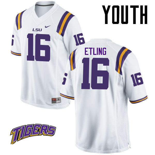 Youth #16 Danny Etling LSU Tigers College Football Jerseys-White