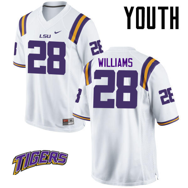 Youth #28 Darrel Williams LSU Tigers College Football Jerseys-White