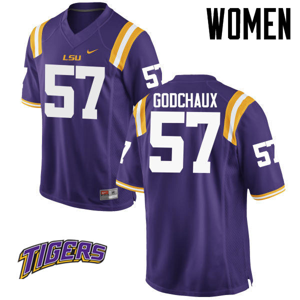 Women's #57 Davon Godchaux LSU Tigers College Football Jerseys-Purple