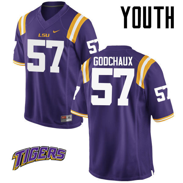 Youth #57 Davon Godchaux LSU Tigers College Football Jerseys-Purple