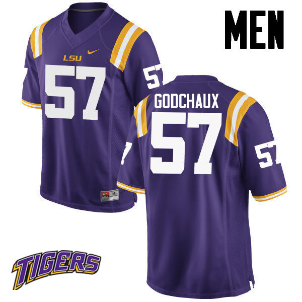 Men's #57 Davon Godchaux LSU Tigers College Football Jerseys-Purple